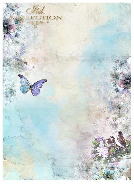 Zestawy-papierow-do-scrapbookingu-zestaw-Lato-w-blekitach-SCRAP-046-04-ptaszki-motylki-akwarelowe-kwiatki-mediowe-struktury-tla-struktury-farb-desek-spekalin-crak