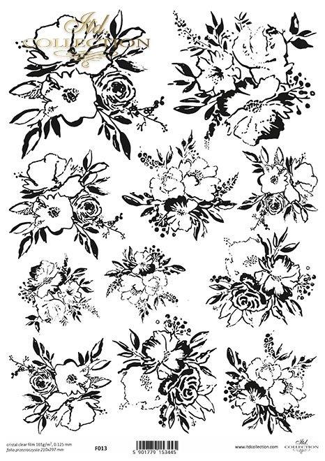 grafika, kwiaty, kwiatki,  bukiety do kolorowania