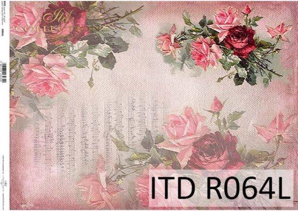 papier ryżowy decoupage kwiaty, Róże, nuty*Rice paper decoupage flowers, roses, musical notes