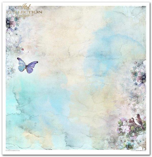 Summertime in blue-lato w kolorze niebieskim, ptaki, kwiaty, motyle, łuszcząca się farba, spękaliny, deski, krak