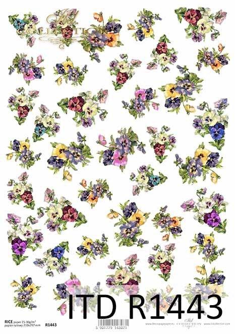Papier decoupage kwiatki, drobne elementy*Paper decoupage flowers, small items