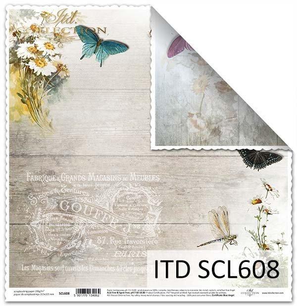 papier do scrapbookingu kwiaty nagietki, motyle, napisy*Paper for scrapbooking floral bouquets, butterflies, inscriptions