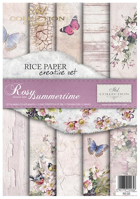 Zestaw kreatywny na papierze ryżowym - Rosy summertime * Creative set on rice paper - Rosy summertime