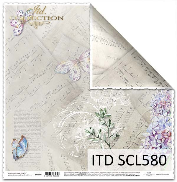 Papier do scrapbookingu - motyle, kwiat bzu*Paper for scrapbooking - butterflies, lilac flower