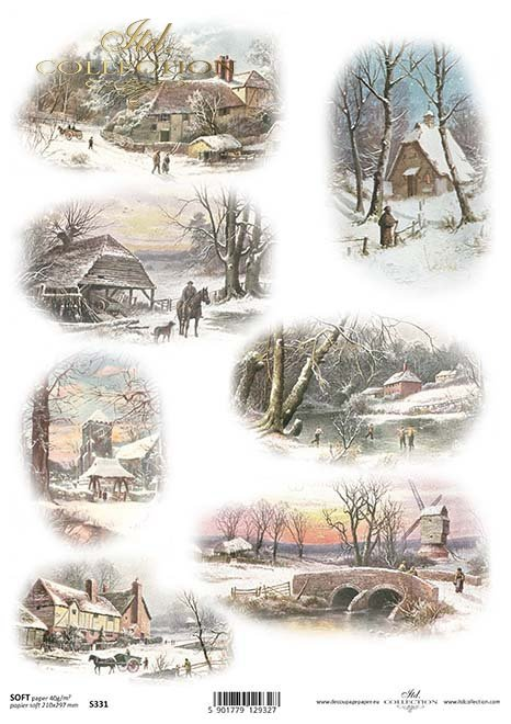 Das Papier decoupage Motive Winter*El invierno adornos de papel decoupage*Das Papier decoupage Motive Winter