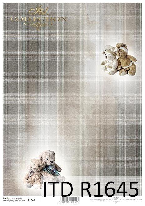 Fondo navideño, ositos de peluche, peluches, cuadros beige y marrón*Weihnachtshintergrund, Teddybären, Plüschspielwaren, beige und brauner Scheck