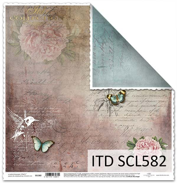 Papier do scrapbookingu - koliber,kwiaty, motyle*Paper for scrapbooking - hummingbird, flowers, butterflies