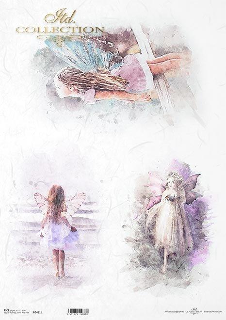 Akwarele, dziewczynka ze skrzydłami elfów, aniołki*Watercolors, girl with elf wings, angels