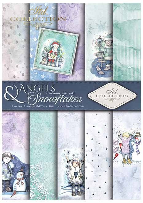 Papiery do scrapbookingu w zestawach - Aniołkowo i śnieżynki*Scrapbooking papers in sets - Angels and snowflakes