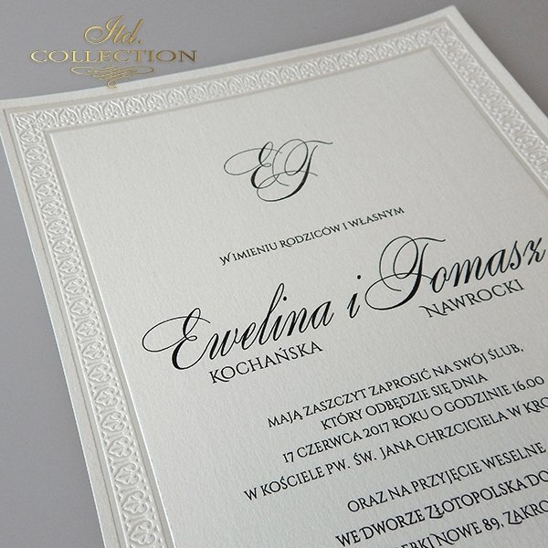 Zaproszenie 2026 Ekskluzywne Zaproszenia ślubne