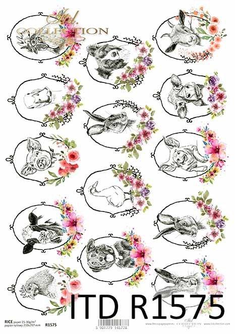 Papier decoupage Wielkanoc, szczęśliwa farma, zwierzęta w owalnych, ukwieconych ramkach*Easter decoupage paper, happy farm, animals in oval, flowered frames