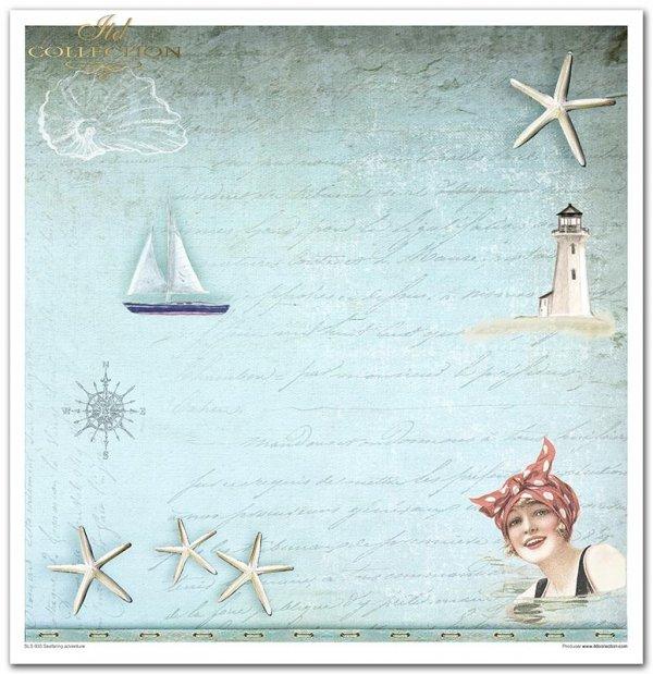 Seafaring adventure - żeglarska przygoda. Mieszają się tu błękity, beże i turkusy.Delikatne niebieskie tła, struktury farb i desek, a do tego motywy marynistyczne: kotwica, koło ratunkowe, latarnia morska, muszelki, żaglówki, kartki z podróży