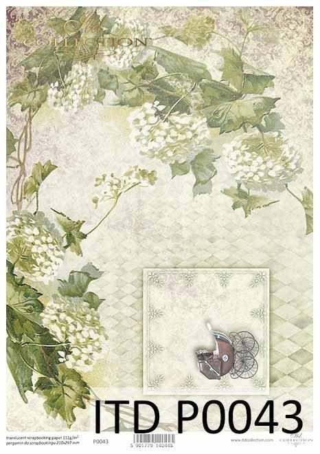 papier decoupage kwiaty, wózek dla dziecka, urodziny*decoupage paper, baby stroller, birthday