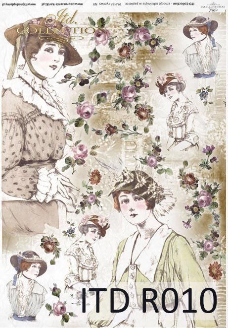 papier ryżowy decoupage - kapelusze retro i Vintage*rice paper decoupage - hats retro and vintage