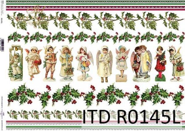 Papier decoupage Vintage*świąteczne szlaczki*długie koronki*aniołki