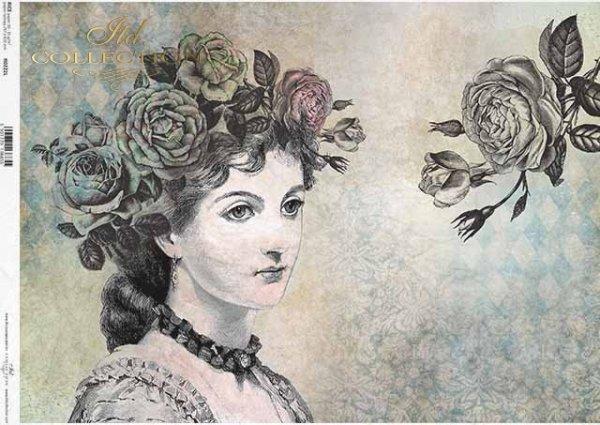 Decoupage-Papier im Vintage-Stil, Gesicht der Frau, Rosen*Papel decoupage en estilo vintage, cara de mujer, rosas*Декупаж бумаги в винтажном стиле, женское лицо, розы