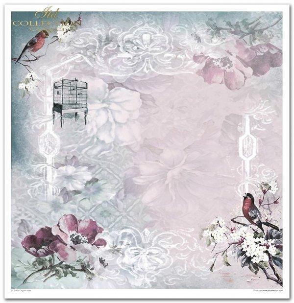 Kolekcja 'Angielska róża', Róża, kwiaty,filiżanka, tea time, dzieci, Vintage, nuty, koronka, ptaki, klatka, shabby chic