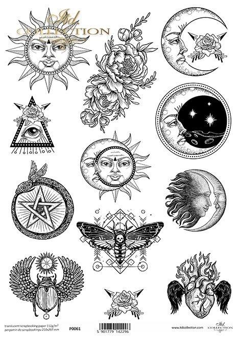 Pergamin do scrapbookingu, symbole, księżyc, ćma, skarabeusz, płonące serce, pentagram, słońce