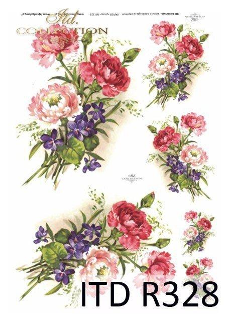 wiosna, kwiat, kwiaty, goździki, fiołki, bukiet, bukiety, R328