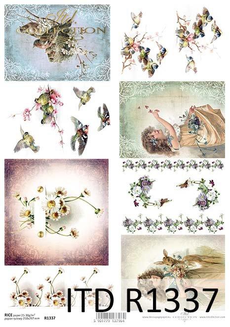 papier ryżowy decoupage kwiaty, dzieci, zwierzęta, ptaki*rice paper decoupage flowers, children, animals, birds