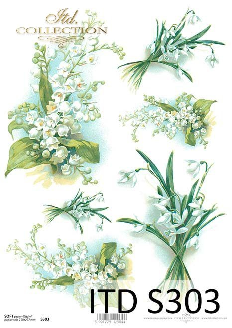Papier decoupage Konwalie, Przebiśniegi*Lilies of the valley decoupage paper, Snowdrops