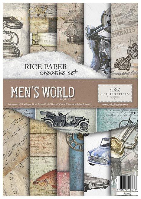 Zestaw kreatywny na papierze ryżowym - Męski świat * Creative set on rice paper - Men's world