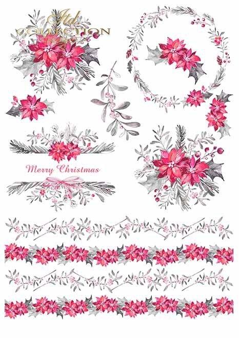 Papiery do scrapbookingu w zestawach - Wieniec adwentowy*Scrapbooking papers in sets - Advent wreath
