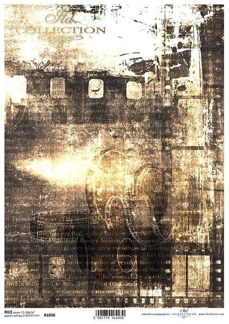 Magia kina, kolaż, klisza, sepia, napisy, historia kina*The magic of cinema, collage, film, sepia, subtitles, history of cinema*Die Magie des Kinos, Collage, Film, Sepia, Untertitel, Kinogeschichte*La magia del cine, collage, película, sepia, subtítulos,
