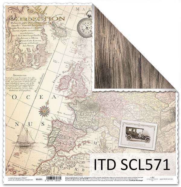 Papier do scrapbookingu - stare mapy, samochody retro*Paper for scrapbooking - old maps, retro cars