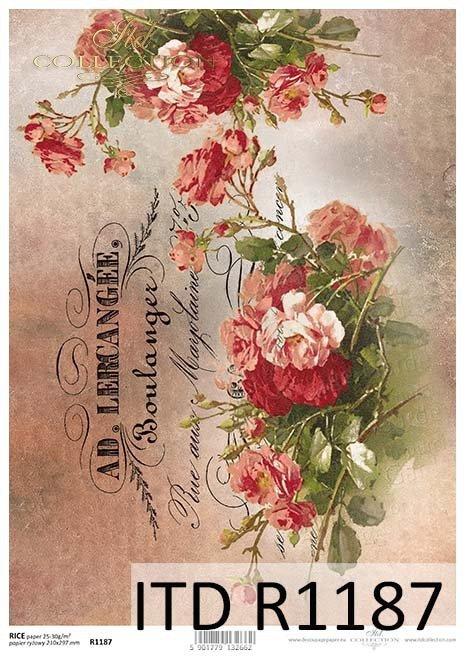 papier decoupage kwiaty, Vintage, napisy*Paper decoupage flowers, vintage, inscriptions
