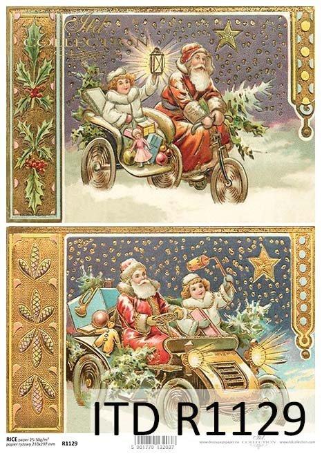 papier decoupage Boże Narodzenie, Mikołaj*Paper decoupage Christmas, Santa Claus