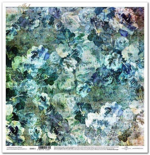 Seria Sekrety - Dolina Elfów. Granatowo-turkusowe akwarelowe tło, kwiaty, kwiatowe tło