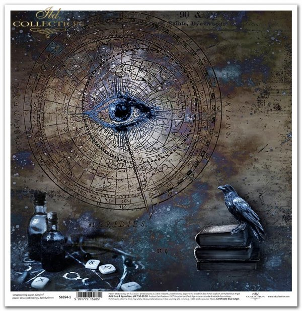 Nieodkryty magiczny świat - Alchemia, oko, kruk, księgi, butelki, niebo, galaktyka, zodiak, kosmogram, tło, kolaż...