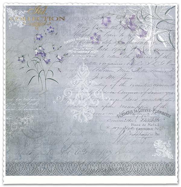 papier do scrapbookingu kwiaty, motyle, klatka dla ptaków, napisy*Paper for scrapbooking flowers, butterflies, bird cage, inscriptions