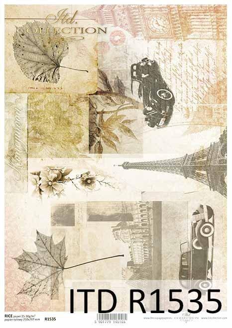 Papier decoupage Wieża Eiffla, Big Ben, stare samochody, stare pismo*Decoupage paper Eiffel tower, Big Ben, old cars, old letter