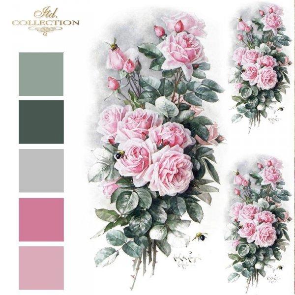 Vintage-kwiaty-różowe-róże-bukiety-różane-papier-decoupage-ryżowy-R1209
