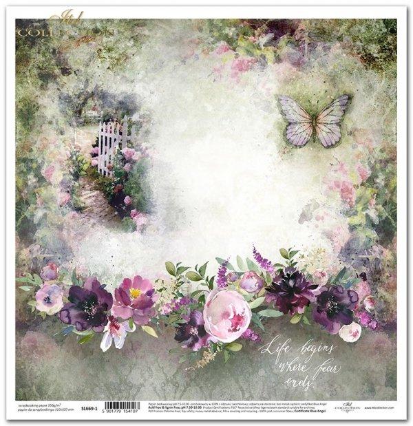 Seria Ogród marzeń - furtka do ogrodu, motyl, cytat