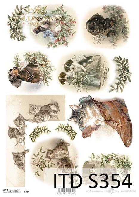 papier decoupage świąteczny, psy, koty*paper decoupage Christmas, dogs, cats