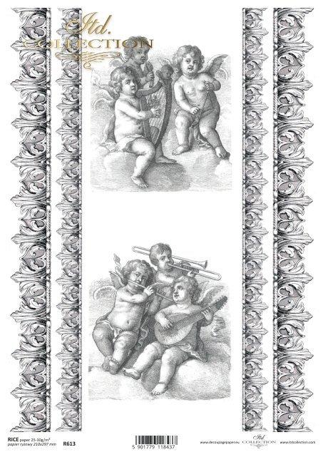 Papier ryżowy do decoupage - putto.Amorki, ornamenty, dekory w stylu retro - R0613