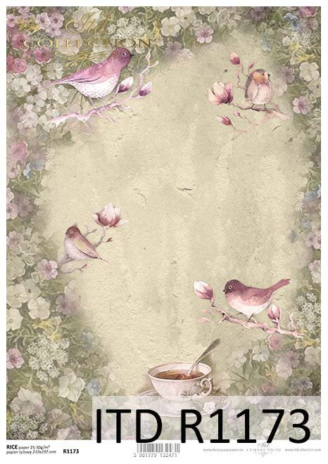 papier decoupage Vintage, filiżanka, ptaki, kwiaty*Vintage decoupage paper, cup, birds, flowers