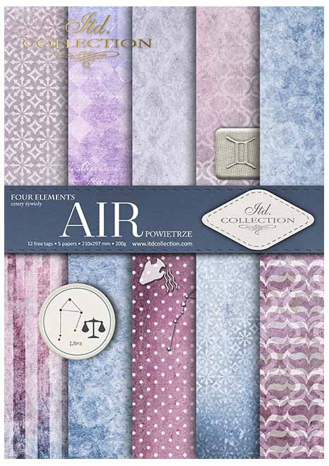 Papiery do scrapbookingu w zestawach - cztery żywioły-powietrze*Scrapbooking papers in sets - four elements - air