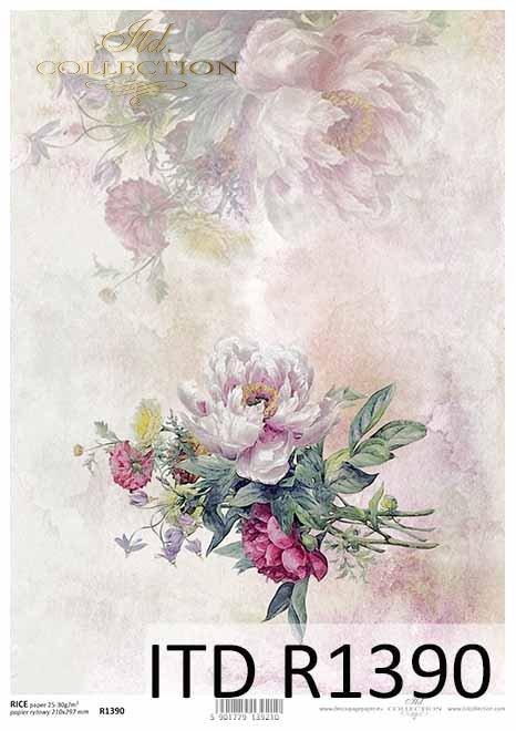 papier decoupage kwiaty, peonie*paper decoupage flowers, peonies