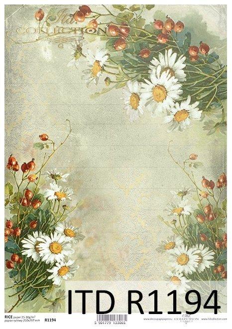 papier decoupage kwiaty, dzika róża, rumianki*Paper decoupage flowers, wild rose, chamomile