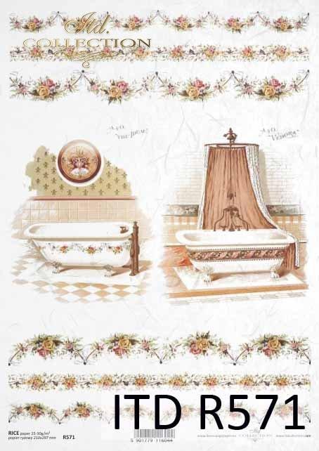 łazienka, pokój kapielowy, stylowe łazienki, armatura łazienkowa, retro, wanna, wanny, prysznic, kran, dekory, ornamenty, kwiatowe, R571