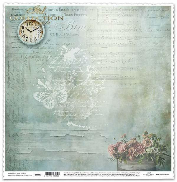Papier für das Scrapbooking - Uhr, alte Farbe*Papel para álbumes de recortes - reloj, la pintura vieja*Papír na scrapbooking - Hodiny, starých nátěrů