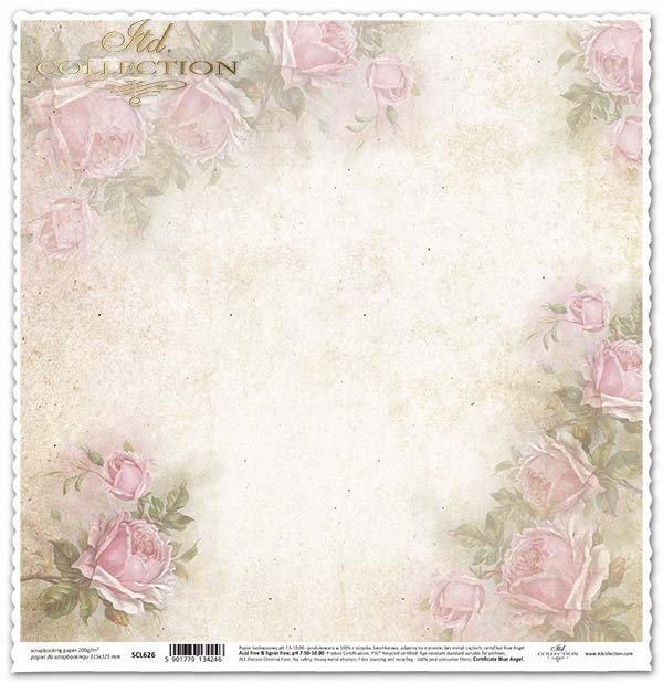 álbum de recortes de papel de la vendimia, rosas*Урожай скрапбукинг бумага, розы*Vintage Scrapbooking Papier, Rosen