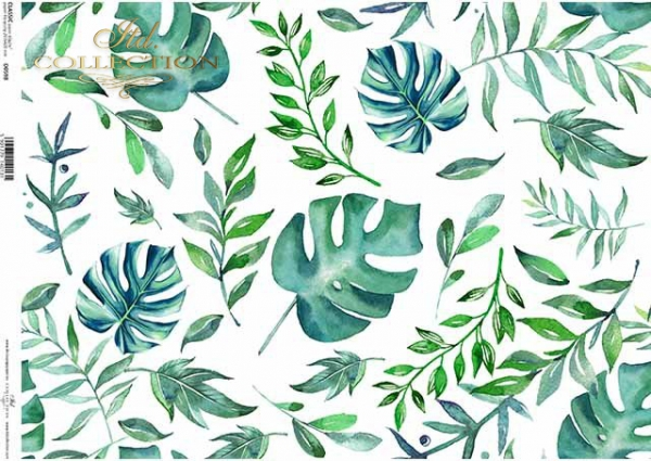 Decoupage-Papier mit Blättern, grünen und blauen Blättern*papel decoupage con hojas, hojas verdes y azules*бумага для декупажа с листьями, зеленые и синие листья