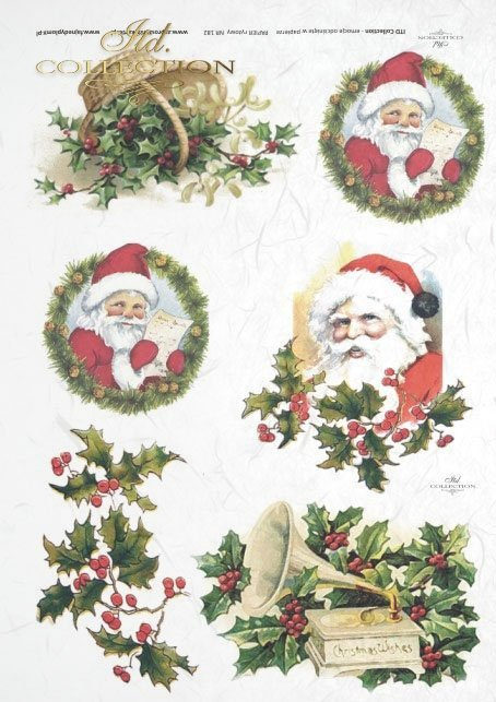 ITD Collection, decoupage, scrapbooking, mixed media, Christmas, winter, Santa Claus