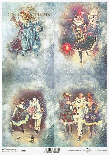 Zakochany Pierrot, Pierrot i Kolombina, karnawałowa zabawa, szaleństwa karnawałowej nocy, karnawał w Wenecji*Pierrot in love, Pierrot and Columbine, carnival party, crazy carnival night, carnival in Venice