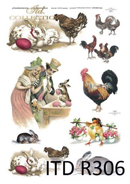 Wielkanoc, kurczaki, kurczaczki, zające, króliki, kwiatki, wiosna, jajka, pisanki, R306